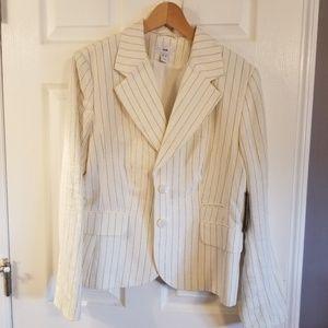 Womens 2pc Linen Pinstriped Suit